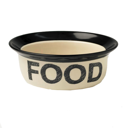 Pooch Basics FOOD Stoneware Bowl: Four Your Paws Only